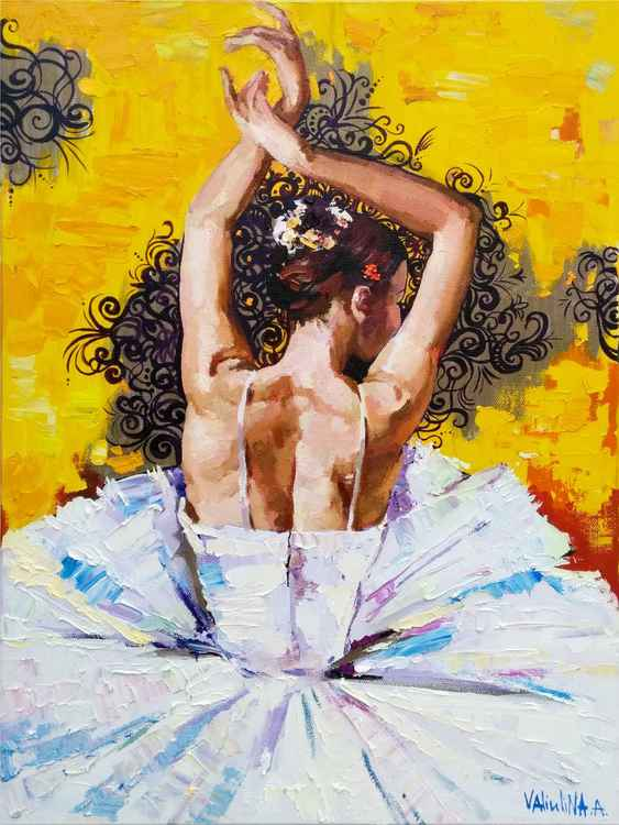 Ballerina painting, Figure painting, Original oil painting -