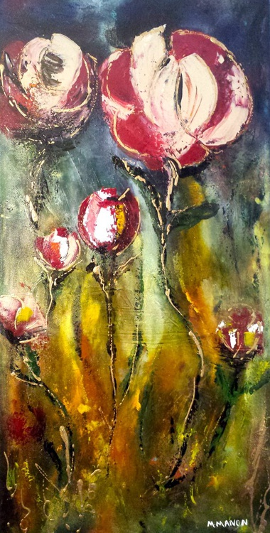 Wild Flowers -  18x36x1.5  Ready to Hang. Layers of colors and ink overlapping.... - Image 0