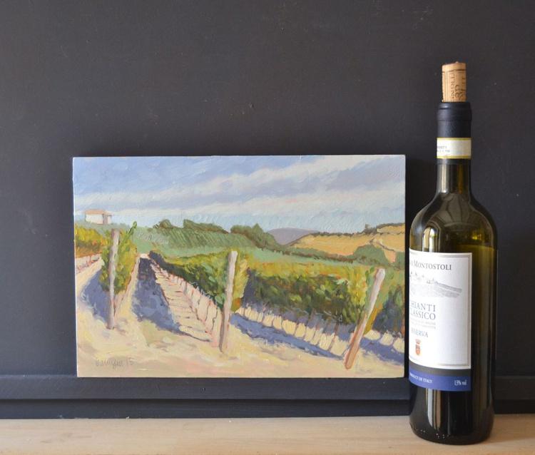 Vinyards in Todi Umbria in September Italian Landscape Oil Painting - Image 0