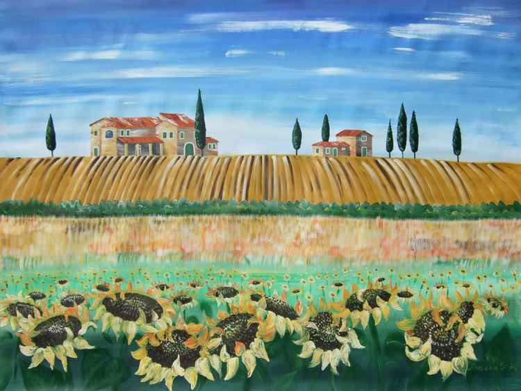 Sunflowers in Tuscany Toscana Large expressionist painting 120x160 cm unstretched canvas art by artist Ksavera