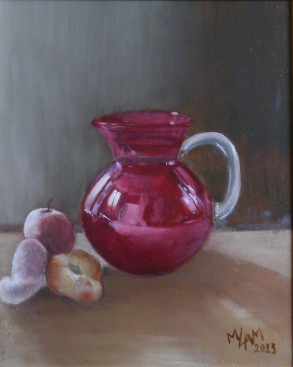 Red jug and flat peaches fine art oil original - Image 0