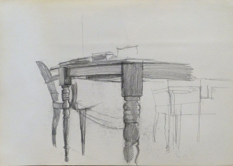 Still Life: Chairs and Table, 29x21 cm - Image 0