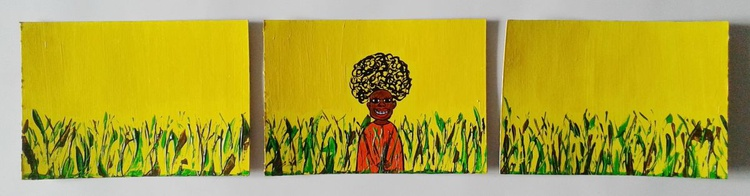 """Triptych """"African in the grass"""" - Image 0"""