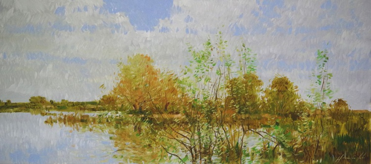 Landscape Original Oil painting, Impressionism, One of a kind, Signed, Hand Painted - Image 0
