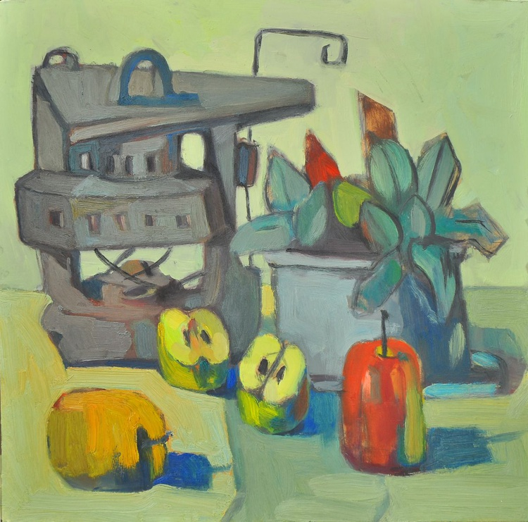 Still Life with lamp, with a pot of flowers and apples - Image 0