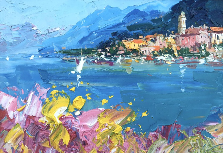 Bellagio Paintings of Italy Como Lake Romantic Gifts for Her Italian Landscape Art Home Decor Living Room Anniversary Gifts Couples Gifts - Image 0
