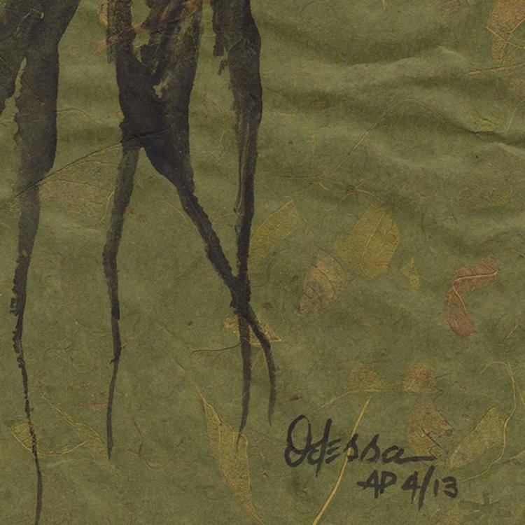 Octopus Gyotaku (Fish Rubbing) Black on Olive Green Mango Paper - Image 0