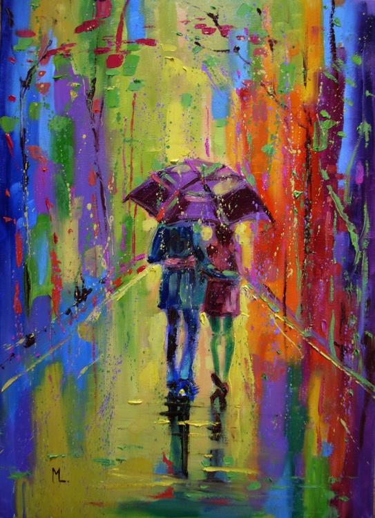 """ FIRST SPRING RAIN ""  ABSTRACT original OIL painting CITY palette knife GIFT MODERN URBAN ART OFFICE ART DECOR HOME DECOR GIFT IDEA - Image 0"