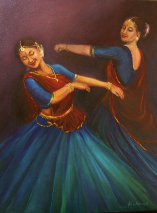 Dancing Gopis (Third of the Series of 8 paintings on the theme Gopi Geeth) - Image 0