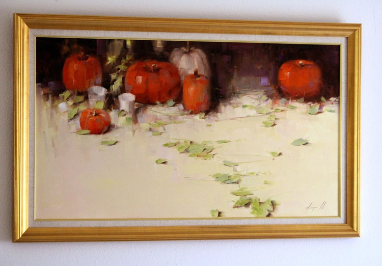 Still  Life with Pumpkins Original oil Painting Large size Framed - Image 0