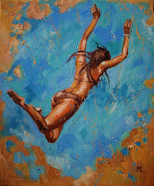 """ flying FREEDOM ... "" SEA original painting palette knife GIFT MODERN URBAN ART OFFICE ART DECOR HOME DECOR GIFT IDEA - Image 0"