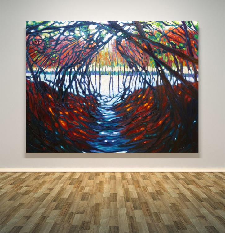 The Dryads Gate - a large semi-abstract oil of a woodland path - Image 0