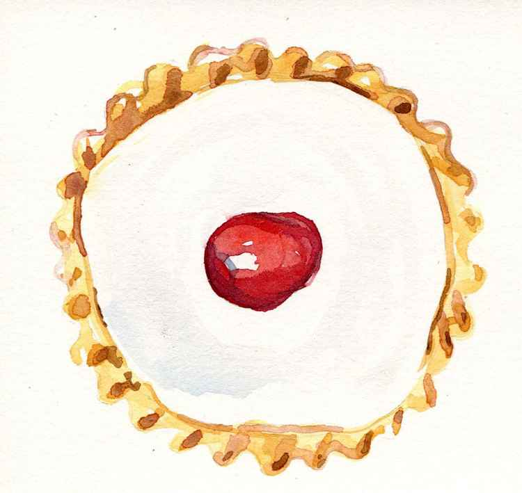 Original Watercolour of Bakewell Tart -