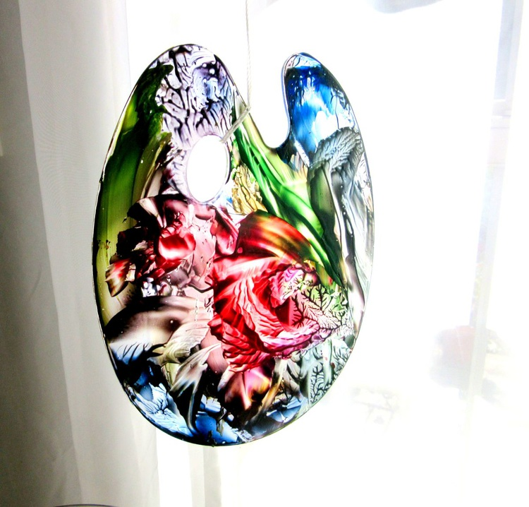 Encaustic on Glass - Free hanging painted Palette - Artful Ornament - Artist Gift - Image 0