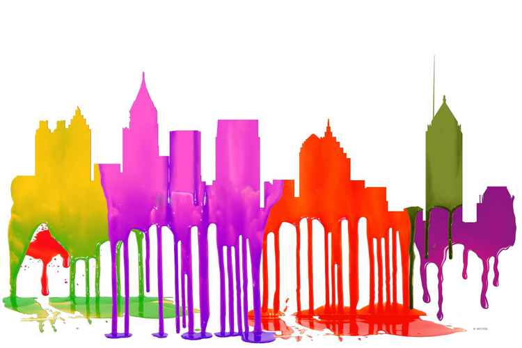 Atlanta, Georgia Skyline - Puddles -