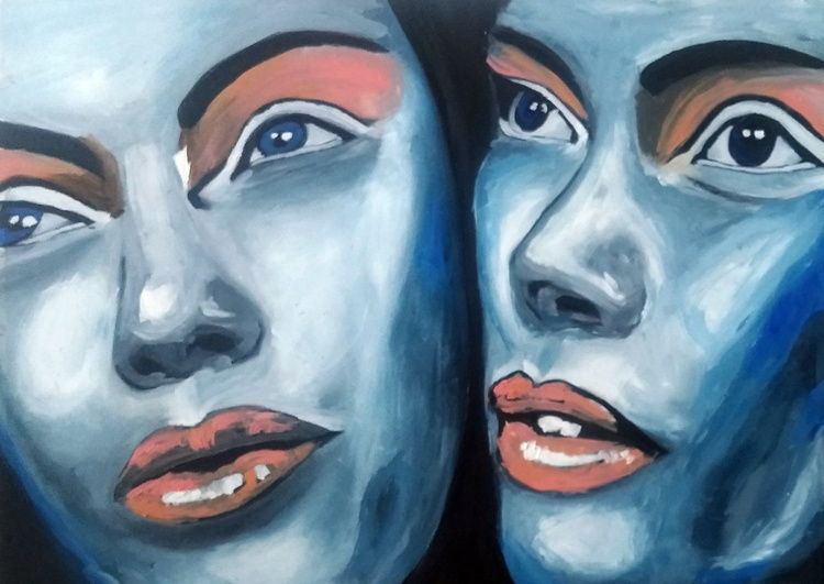 Rebecca and Nathalie, oil painting on canvas textured paper - Image 0