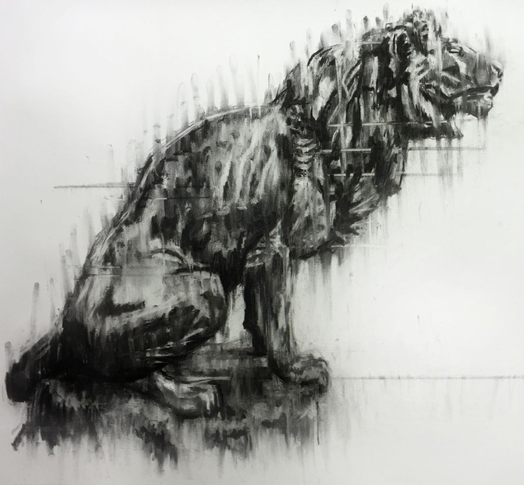 'The Final Call', Lion Calling, Large format framed charcoal drawing/painting - Image 0