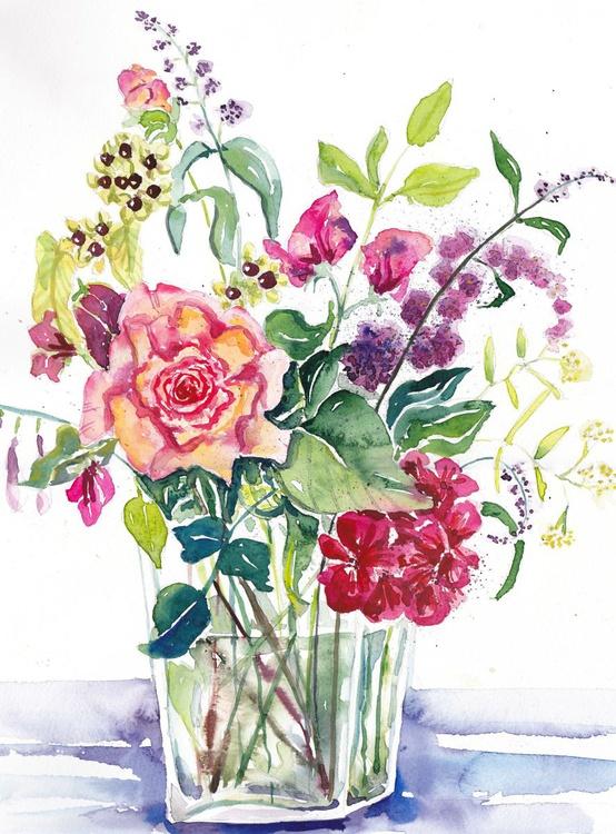 Pink Rose in a Glass Vase - Image 0