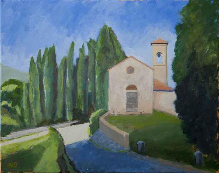 Chapel on the wine estate Capezzana Toscana It. -