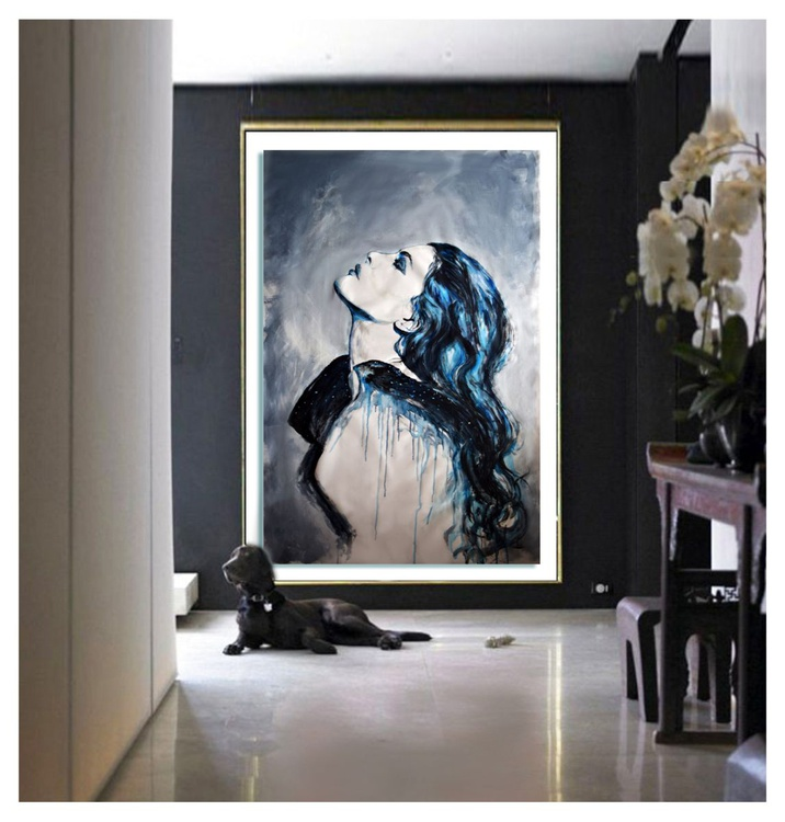 Shades of Blue XL 155 cm x 100 cm. - Image 0