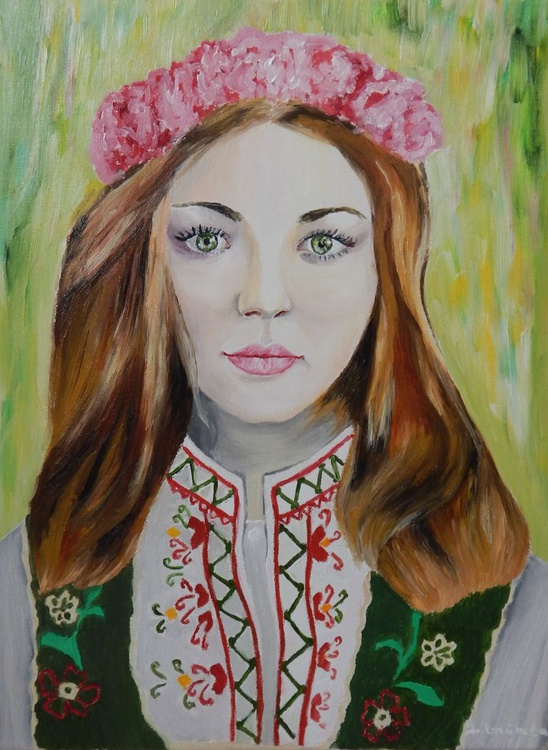 """Lady with roses 2""-original oil painting beautiful woman art decor home decor ready to hang gift idea - Image 0"