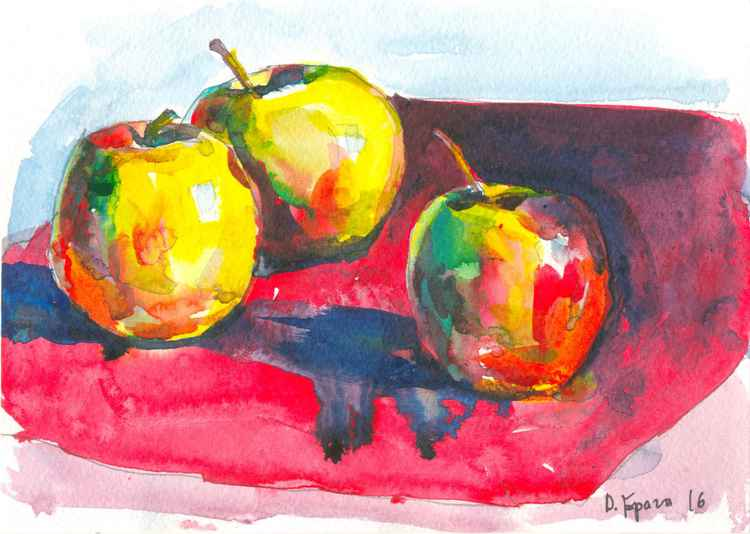 Apples on a red #1