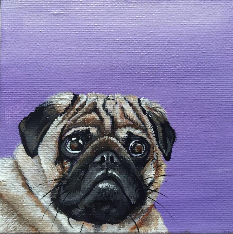 Pug on purple (miniature) - Image 0