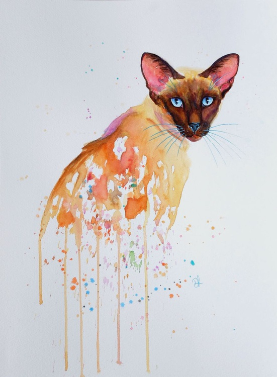 Blue Topaz - Siamese Cat Watercolour - Image 0