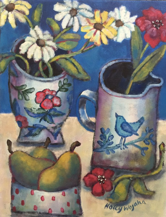 Naive Still Life With Daisies and Pears - Image 0