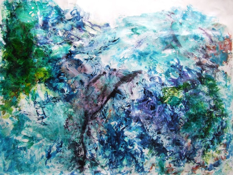 Asian mountains / Acrylic & ink on Linen - Image 0