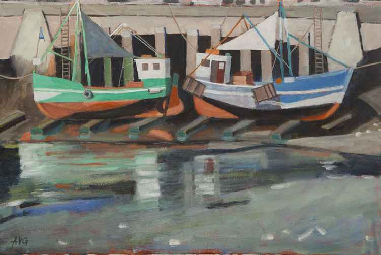 Fishing boats at dock ready to paint Honfleur France -