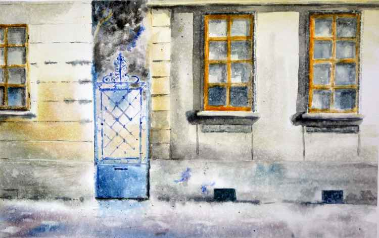 Blue gate and orange windows - original watercolor painting by Nenad Kojić
