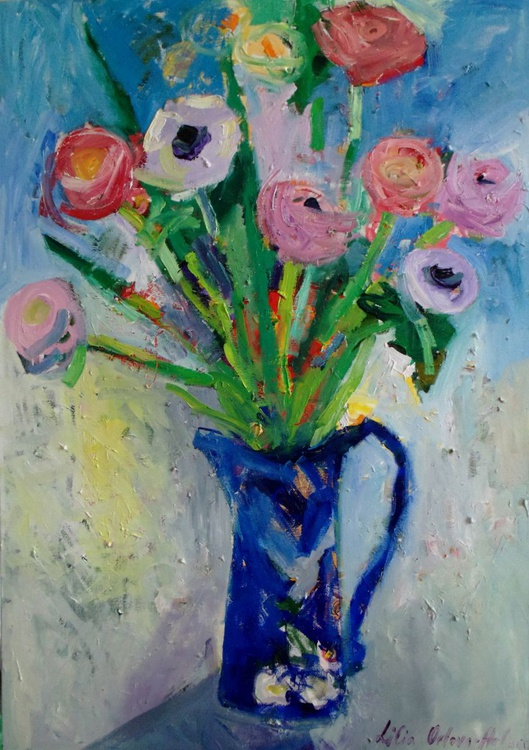 Spring flowers in the blue jug - Image 0