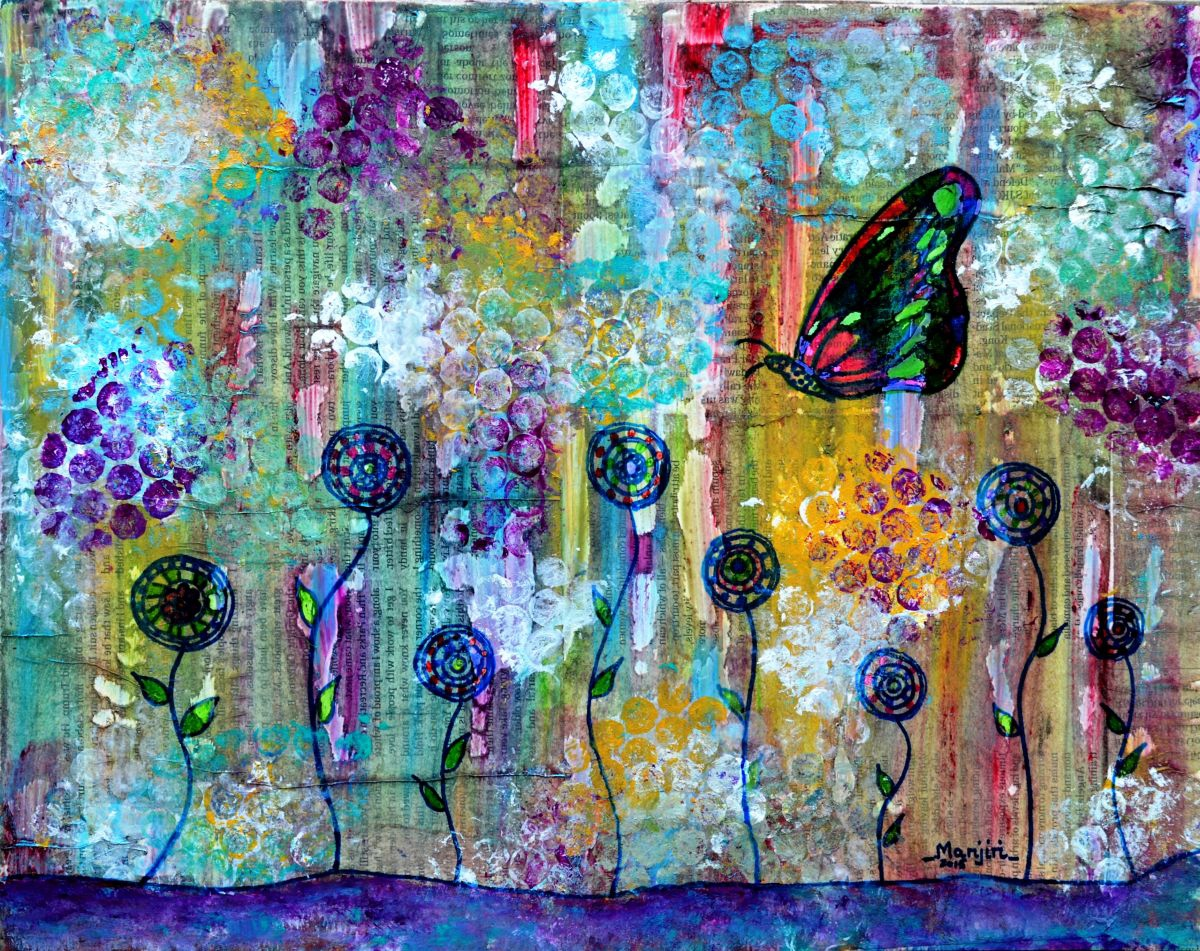 Colorful Abstract Paintings on Canvas Happy Daisies ...