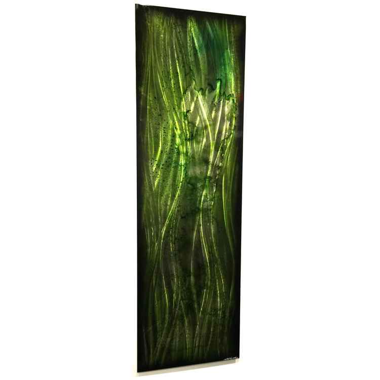 Evergreen Abstract | Tall, Narrow Contemporary Green Accent Art