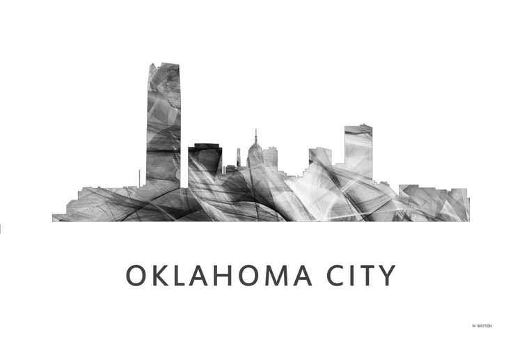 Oklahoma City Oklahoma Skyline WB BW -