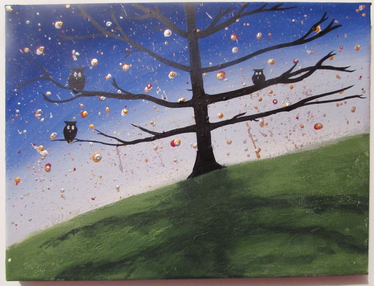 """original cute owl painting """"The Owl Tree"""" painting art canvas - 9 x 12  inches romance gifts for her - Image 0"""