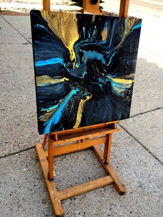 Abstract Painting 24x24 Oceans of Gold - Image 0