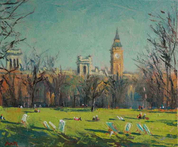 London, St. James Park. Oil painting