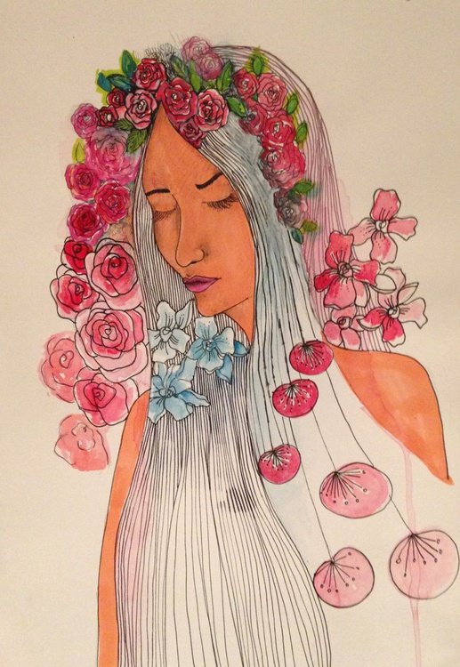 Crown of Flowers Mixed Media - Image 0