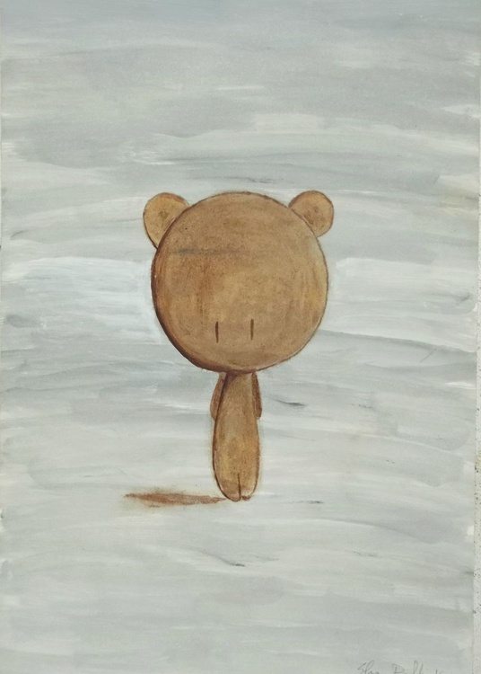 brown teddy bear on grey background - oil on paper - Image 0