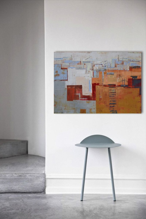 Abstract painting, modern, minimalist large canvas art 39.37/27.5(100/70cm). Layer city XII. - Image 0