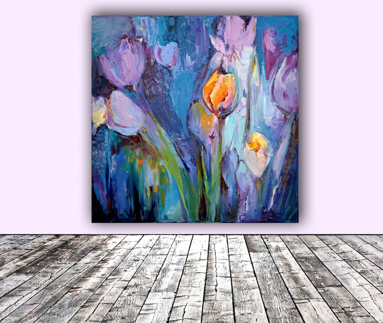 Blue Tulips Modern Ready to Hang Painting - FREE SHIPPING - Flower Oil Painting, Floral painting - Image 0