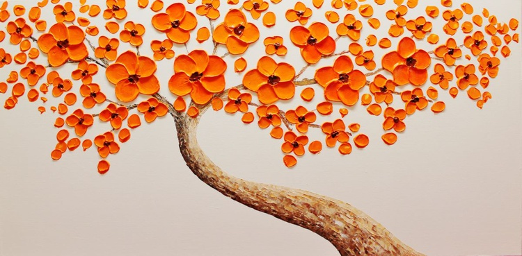 Orange flower Blooming Tree - Image 0