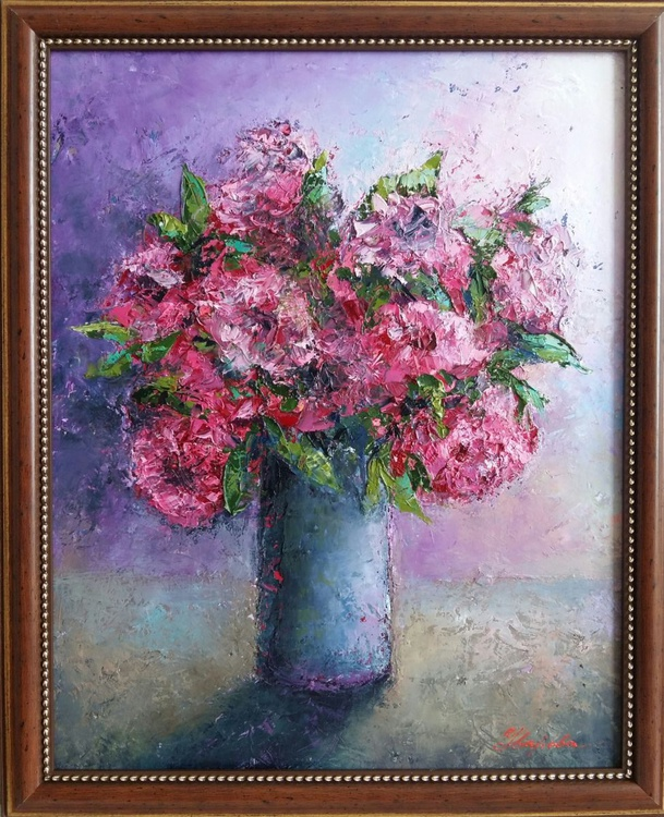 Roses, 45x55 cm in frame, original artwork, FREE SHIPPING - Image 0