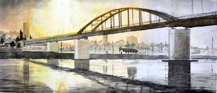 Morning above old bridge, Belgrade - original watercolor painting by Nenad Kojić - Image 0