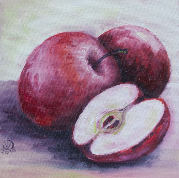 Red Apples (15x15cm) original oil painting still life realistic small gift kitchen decor - Image 0