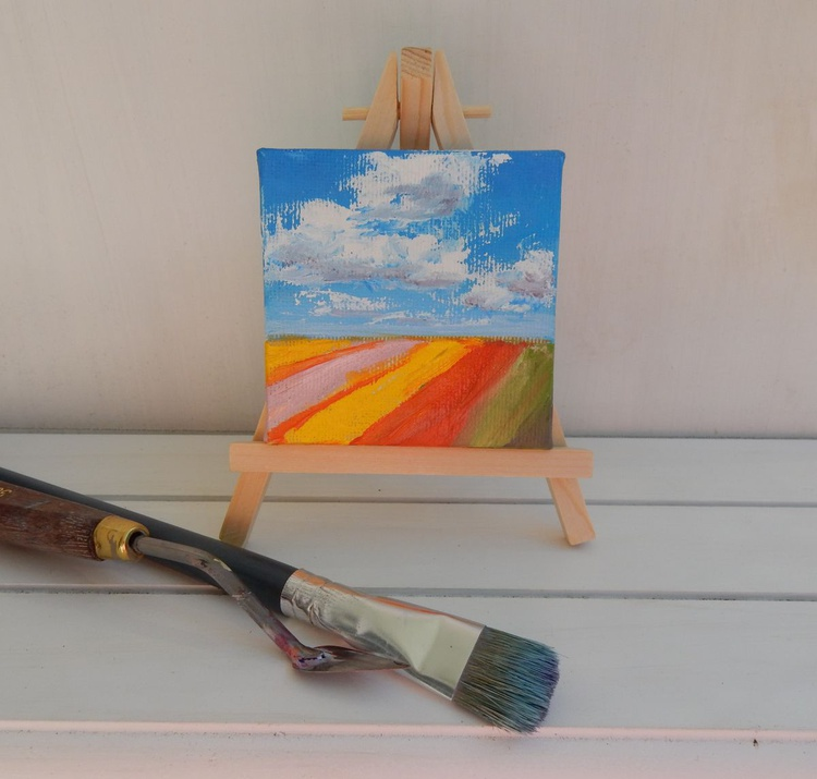 Tulip fields in Holland (3). Landscape Miniature. Easel is included. Gift painting. Ready to hang. - Image 0