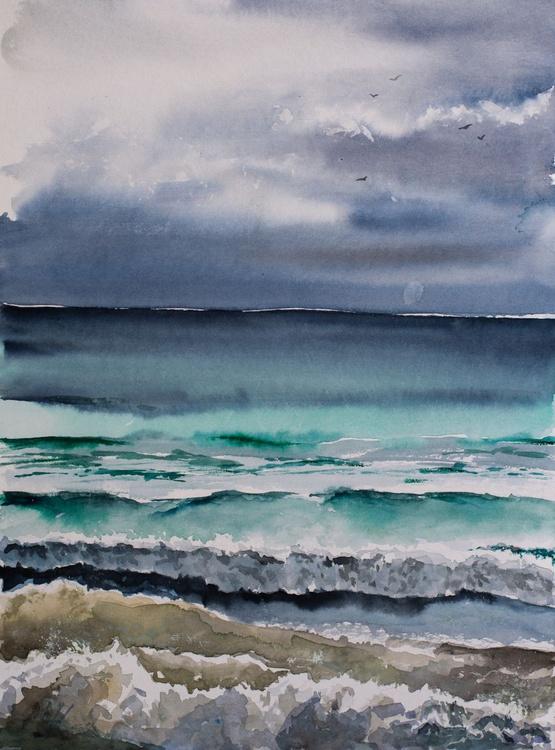 """ocean color"", original watercolour painting, 11.8""x 15.7""(30x40cm), ready to hang - Image 0"