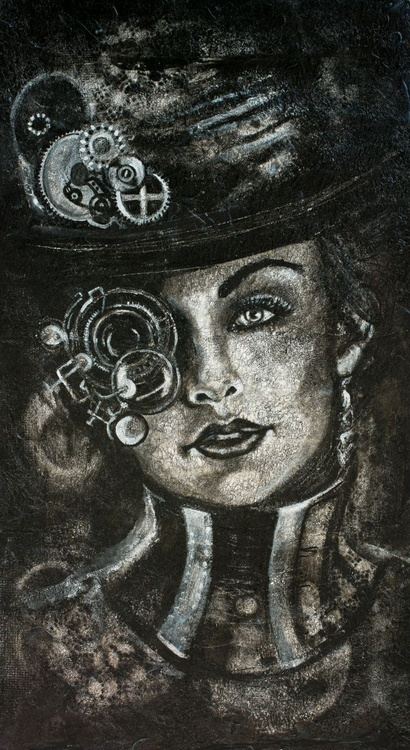 """""""Steampunk lady"""", original mixed media painting on MDF panel 50x90x2cm.,  ready to hang - Image 0"""